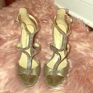 Champagne/Dusty Gold & Rhinestone Heel